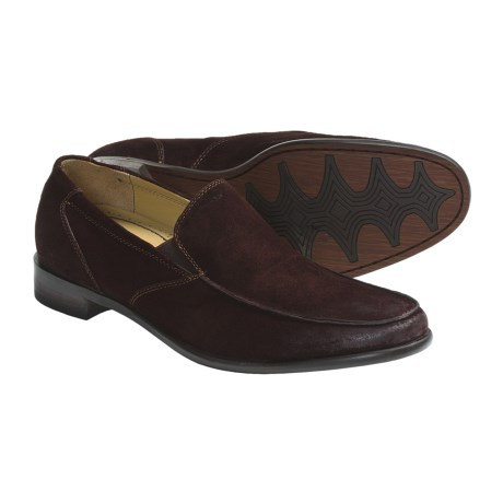 Auri Marcus Venetian Shoes - Leather, Slip-Ons (For Men) in Grey Burnished Leather
