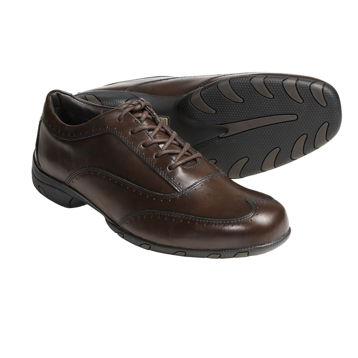 Player Wingtip Oxford Shoes - Supple Calf Leather (For Men) in Brown