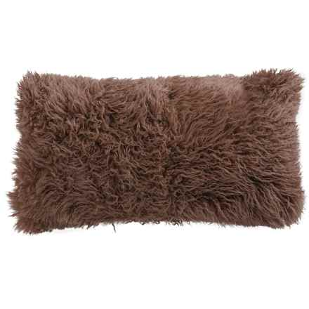 "Auskin Curly Longwool Sheepskin Pillow - 11x22"" in Coffee - Overstock"