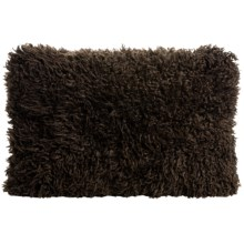 "Auskin Curly Longwool Sheepskin Pillow - 16x24"" in Chocolate - Closeouts"