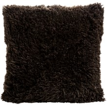 "Auskin Curly Longwool Sheepskin Pillow - 24x24"" in Chocolate - Closeouts"