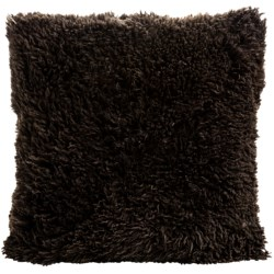 "Auskin Curly Longwool Sheepskin Pillow - 24x24"" in Chocolate"