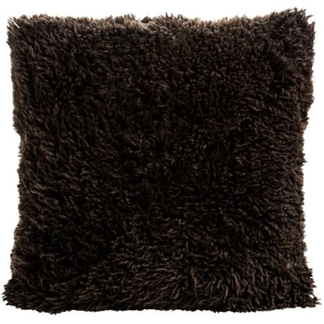 "Auskin Curly Longwool Sheepskin Pillow - 24x24"" in Chocolate"