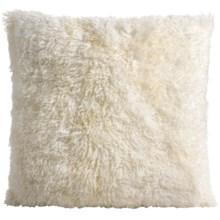 """Auskin Curly Longwool Sheepskin Pillow - 24x24"""" in Ivory - Closeouts"""