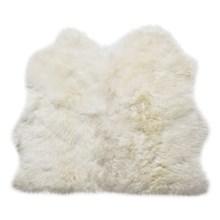 Auskin Longwool Sheepskin Double Pelt Rug - 3x3' in Ivory - Overstock