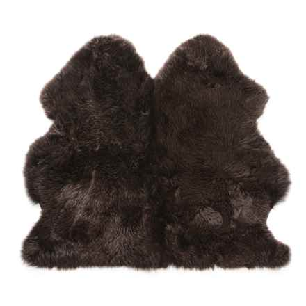 Auskin Longwool Sheepskin Double Pelt Rug - 3x3' in Chocolate - Overstock