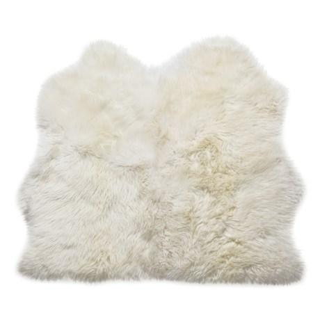 Auskin Longwool Sheepskin Double Pelt Rug - 3x3' in Ivory