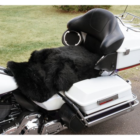Auskin Longwool Sheepskin Motorcycle Seat Cover in Black