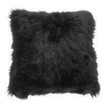 "Auskin Longwool Sheepskin Pillow - 18"", Square in Black - Closeouts"