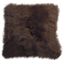 "Auskin Longwool Sheepskin Pillow - 18"", Square in Chocolate - Closeouts"