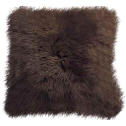 "Auskin Longwool Sheepskin Pillow - 18"" Square in Chocolate - Closeouts"