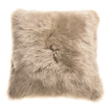 "Auskin Longwool Sheepskin Pillow - 18"" Square in Dark Linen - Closeouts"
