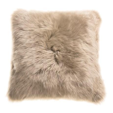 """Auskin Longwool Sheepskin Pillow - 18"""" Square in Dark Linen"""