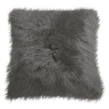 "Auskin Longwool Sheepskin Pillow - 18"" Square in Steel - Closeouts"