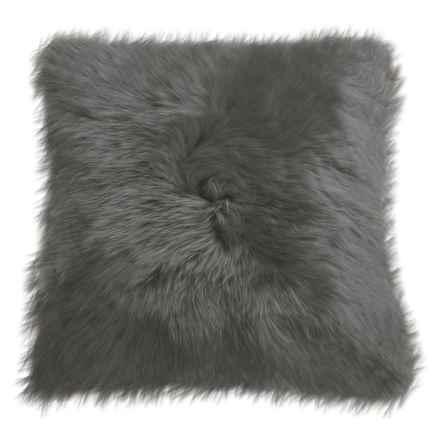 """Auskin Longwool Sheepskin Pillow - 18"""" Square in Steel - Closeouts"""