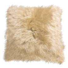 "Auskin Longwool Sheepskin Pillow - 18"", Square in Wheat - Closeouts"