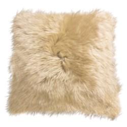"Auskin Longwool Sheepskin Pillow - 18"", Square in Chocolate"