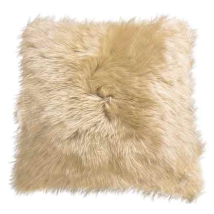 "Auskin Longwool Sheepskin Pillow - 18"" Square in Wheat - Closeouts"