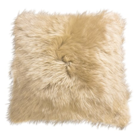 "Auskin Longwool Sheepskin Pillow - 18"", Square in Wheat"