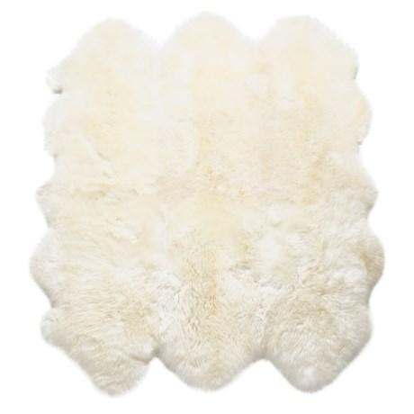 Auskin Longwool Sheepskin Six Pelt Rug - 6x6' in Ivory
