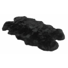 "Auskin Longwool SheepskinRug - 72x45"", Four Pelt in Black - Overstock"
