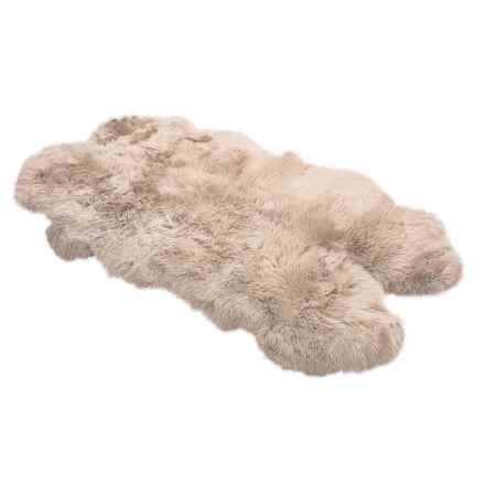 "Auskin Longwool SheepskinRug - 72x45"", Four Pelt in Dark Linen - Overstock"