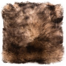 "Auskin Sheepskin Decor Pillow - 14x14"", Combed Longwool in Alder Tipped - Closeouts"
