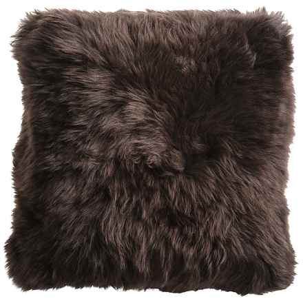 "Auskin Sheepskin Decor Pillow - 14x14"", Combed Longwool in Chocolate - Closeouts"