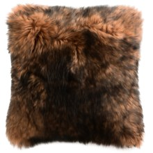 "Auskin Sheepskin Decor Pillow - 14x14"", Combed Longwool in Cinnamon Tipped - Closeouts"