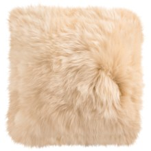 "Auskin Sheepskin Decor Pillow - 14x14"", Combed Longwool in Wheat - Closeouts"