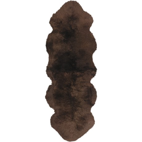Auskin Sheepskin Longwool Double Pelt Runner in Chocolate