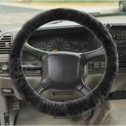 Auskin Sheepskin Steering Wheel Cover in Black - Overstock