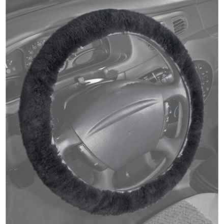 Auskin Sheepskin Steering Wheel Cover in Charcoal Grey - Overstock