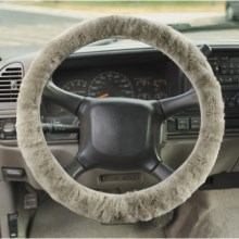 Auskin Sheepskin Steering Wheel Cover in Grey - Overstock