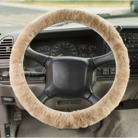 Auskin Sheepskin Steering Wheel Cover in Grey