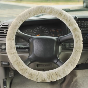 Auskin Sheepskin Steering Wheel Cover in Pearl