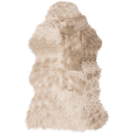 "Auskin Single-Pelt Longwool Sheepskin Rug- 39x25"" in Dark Linen"