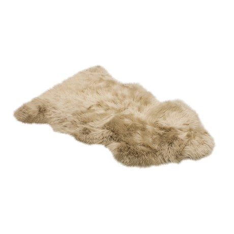 Auskin Single-Pelt Longwool Sheepskin Rug in Linen