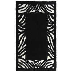 Auskin Zebra Designer Sheepskin Area Rug - Rectangular, 6x9' in Black/White