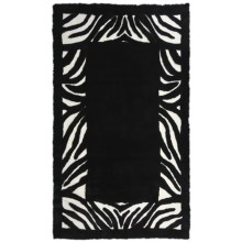 Auskin Zebra Designer Sheepskin Rug - Rectangular, 6x9' in Black/White - Closeouts