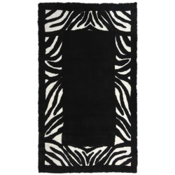 Auskin Zebra Designer Sheepskin Rug - Rectangular, 6x9' in Black/White