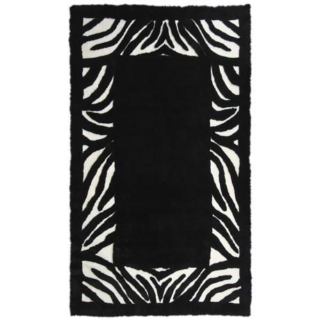 Auskin Zebra Designer Sheepskin Rug - Rectangular, 6x9' in Black/White