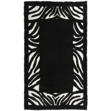 Auskin Zebra  Designer Sheepskin Rug - Rectangular, 8x12' in Black/White - Closeouts