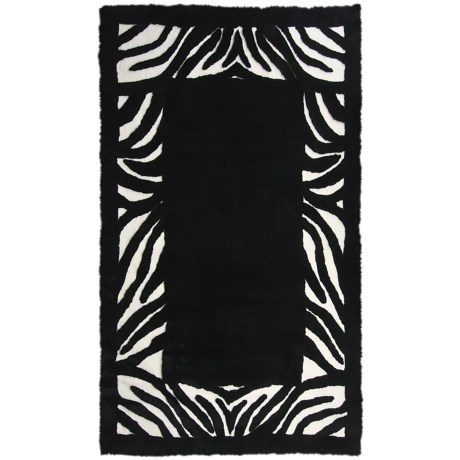 Auskin Zebra  Designer Sheepskin Rug - Rectangular, 8x12' in Black/White