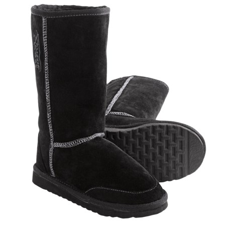Aussie Dogs Coaster Tall Boots - Shearling-Lined (For Kids) in Black