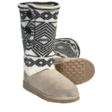 Aussie Dogs Ethnic Shearling-Lined Boots (For Women) in Bone/Black - Closeouts