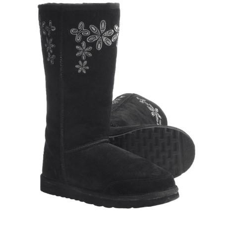 Aussie Dogs Groovster Sheepskin Boots (For Women) in Black
