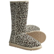 Aussie Dogs Leopard Shearling Boots (For Women) in Natural - Closeouts