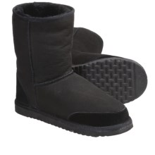 Aussie Dogs Styler Short Shearling-Lined Boots - Suede (For Men and Women) in Black - Closeouts