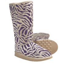 Aussie Dogs Zebra Sheepskin Boots (For Women) in Purple - Closeouts